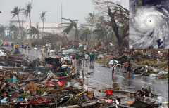 Typhoon Haiyan destruction with storm